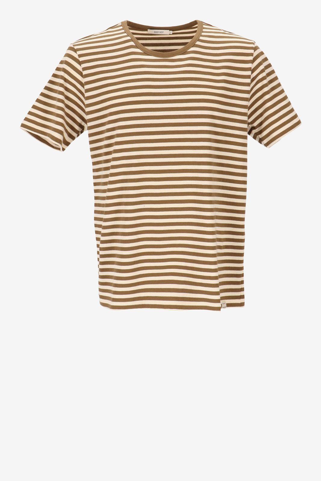 T-shirt met bruine strepen - Heren | Sissy-Boy