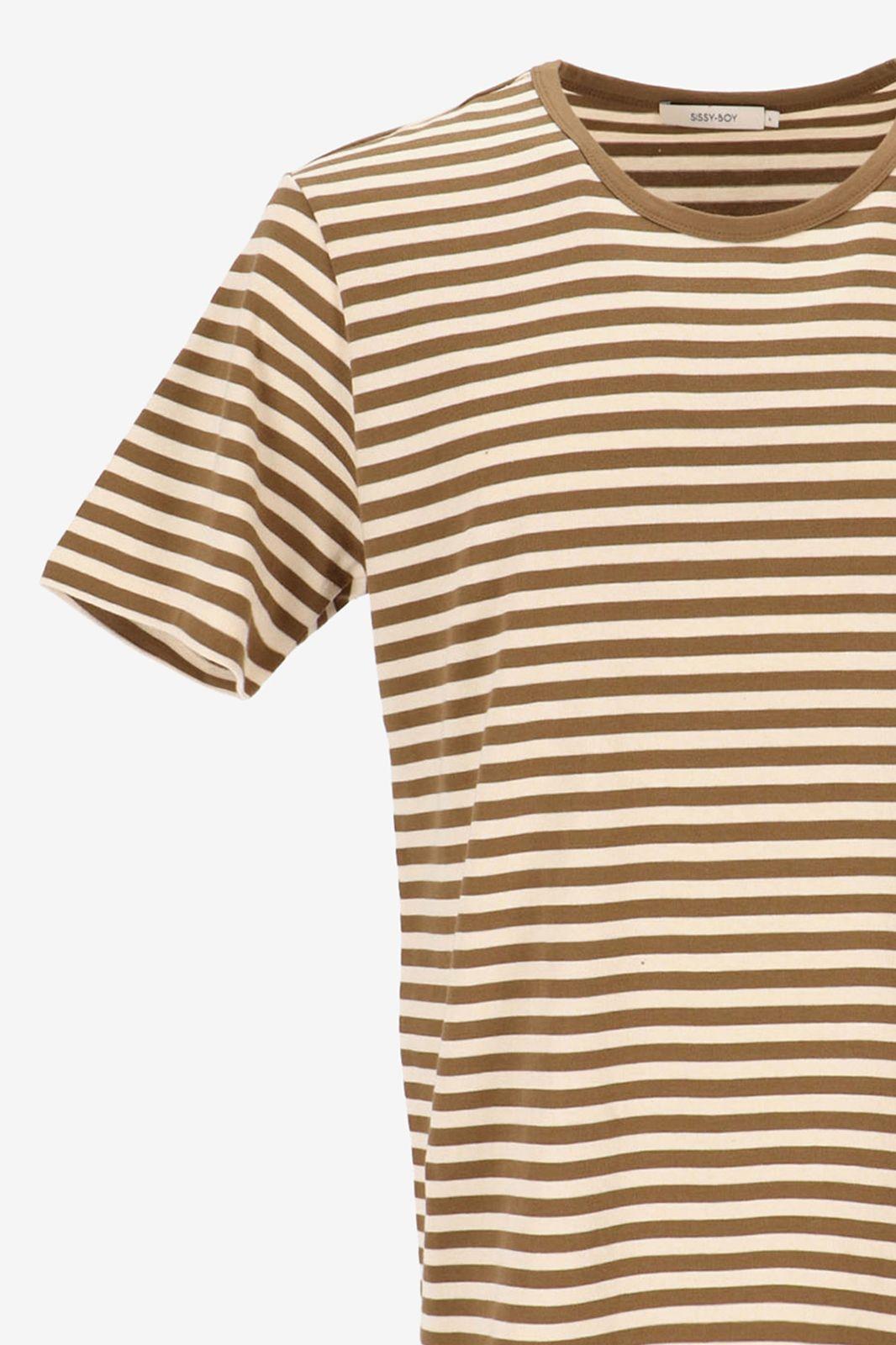 T-shirt met bruine strepen