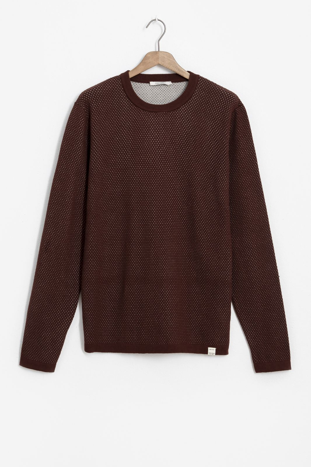 Bruine katoenen trui met gebreide structuur - Heren | Sissy-Boy