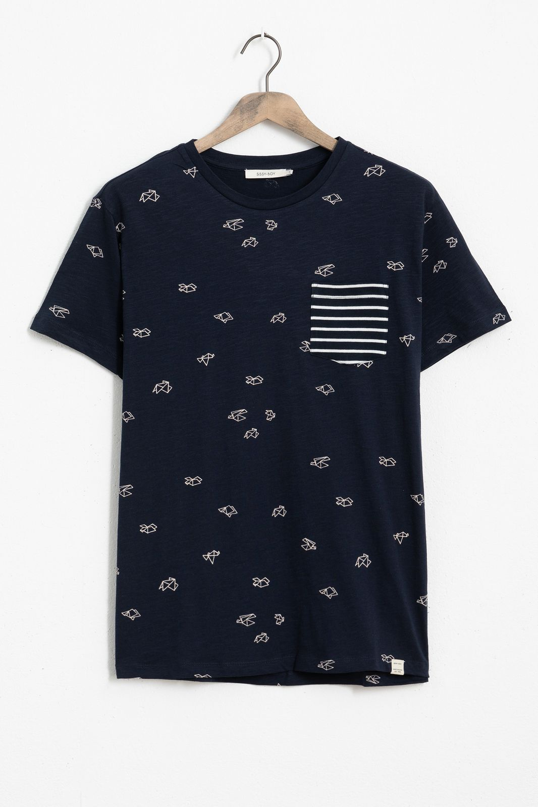Blauw T-shirt met all over origami print