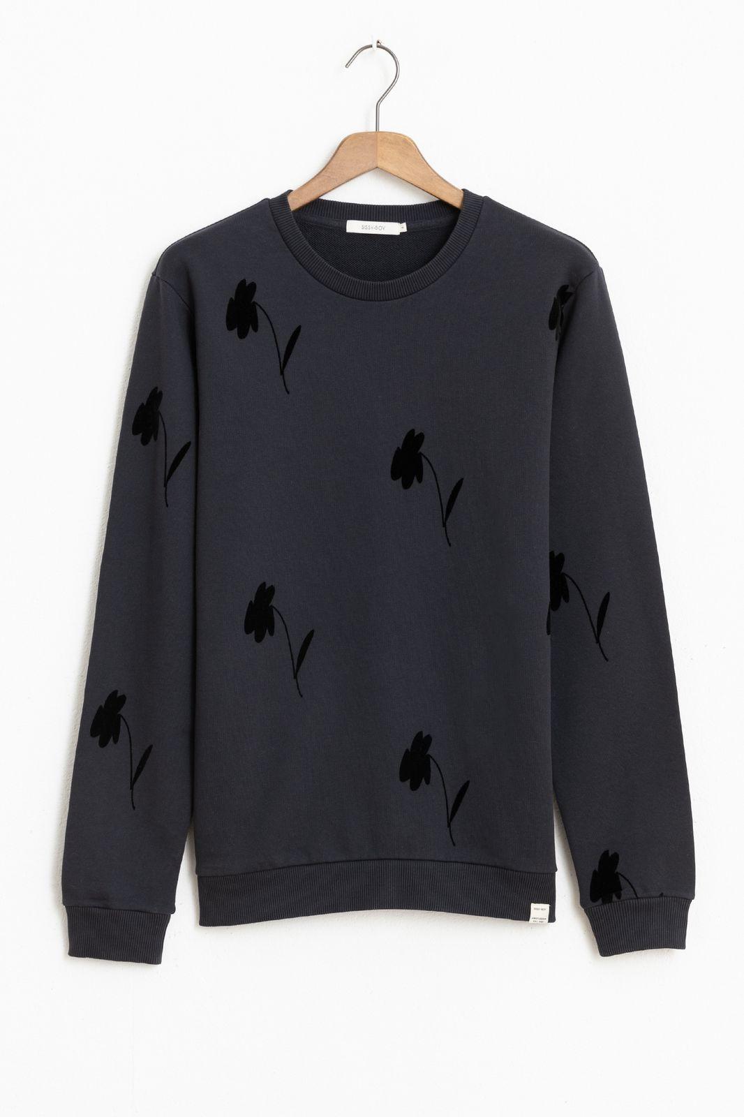 Donkergrijze sweater met all over print