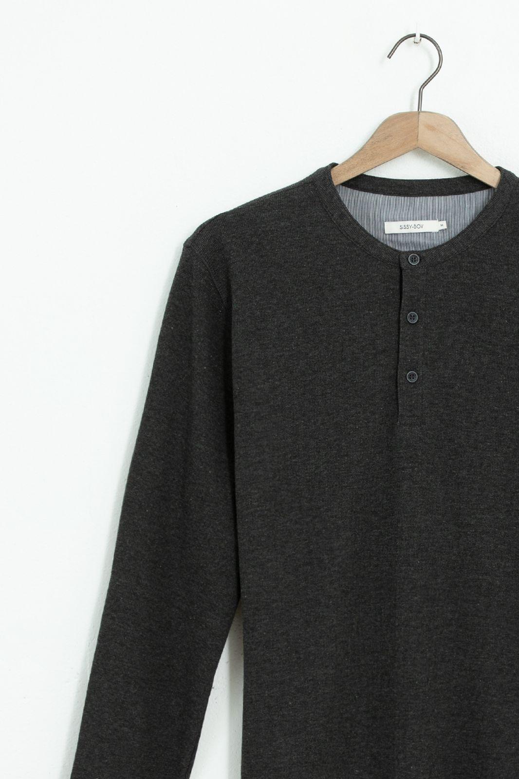 Donkergrijs henley T-shirt met lange mouwen - Heren | Sissy-Boy
