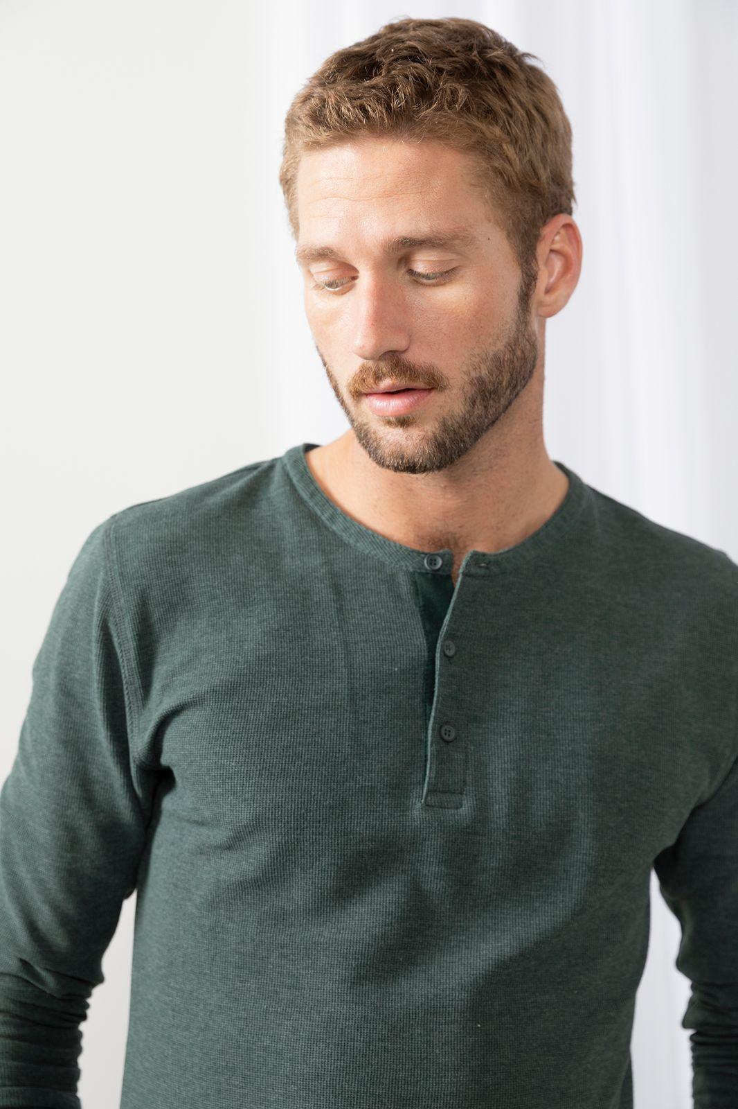 Donkergroen katoenen T-shirt