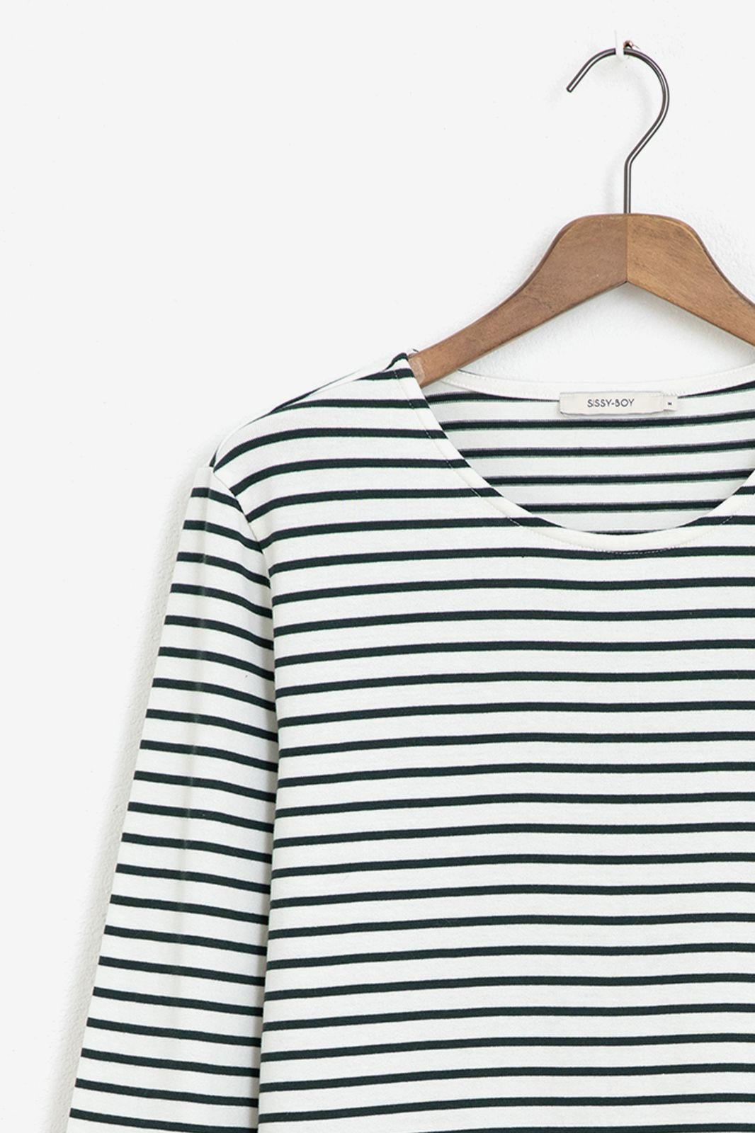 Wit longsleeve T-shirt met groene strepen - Heren | Sissy-Boy