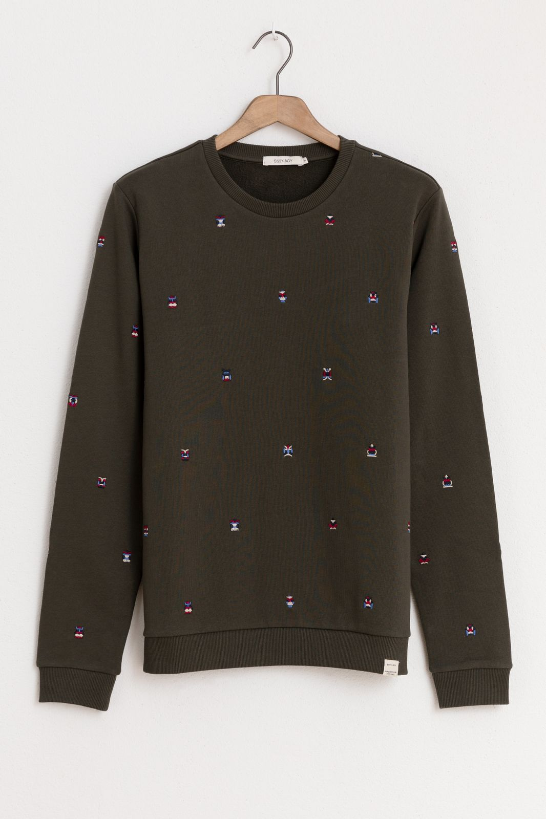 Donkergroene sweater met borduursels - Heren   Sissy-Boy