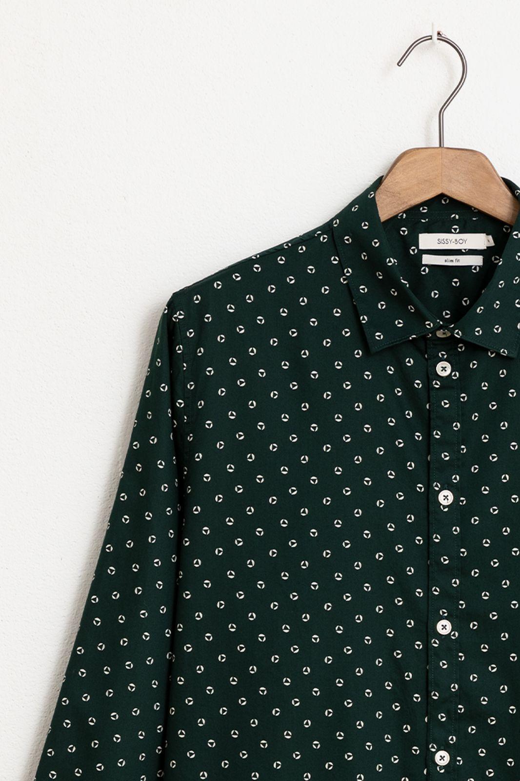 Groen katoenen overhemd met print - Heren | Sissy-Boy