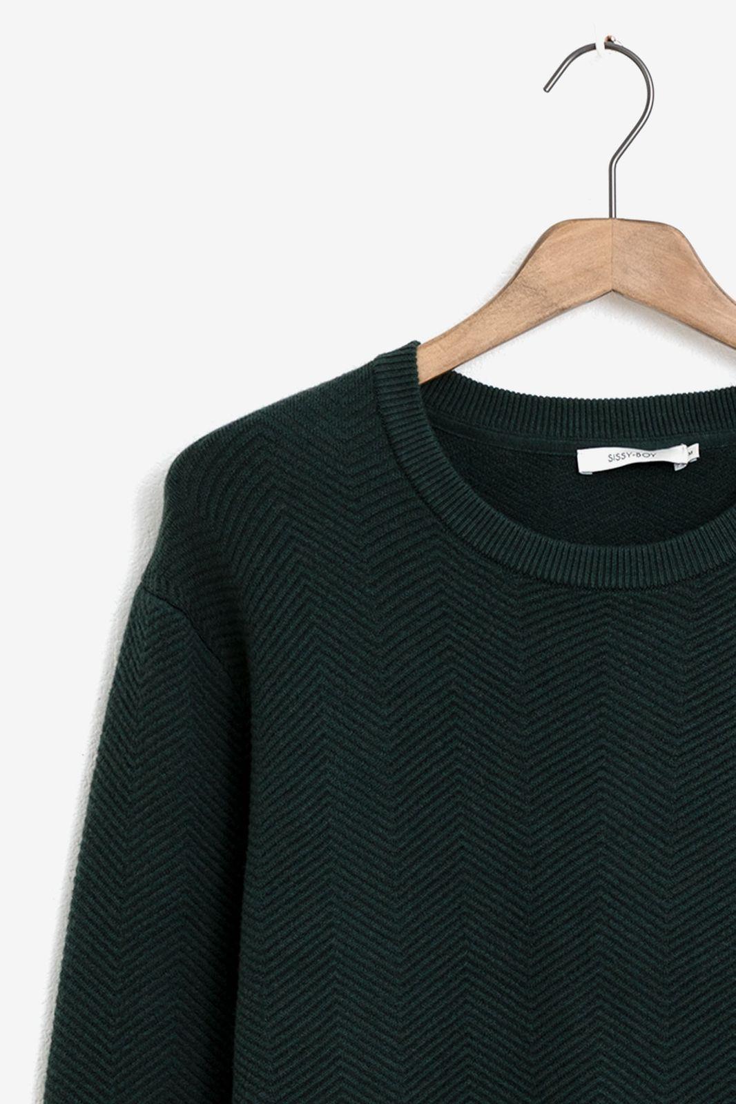 Donkergroene trui met herringbone