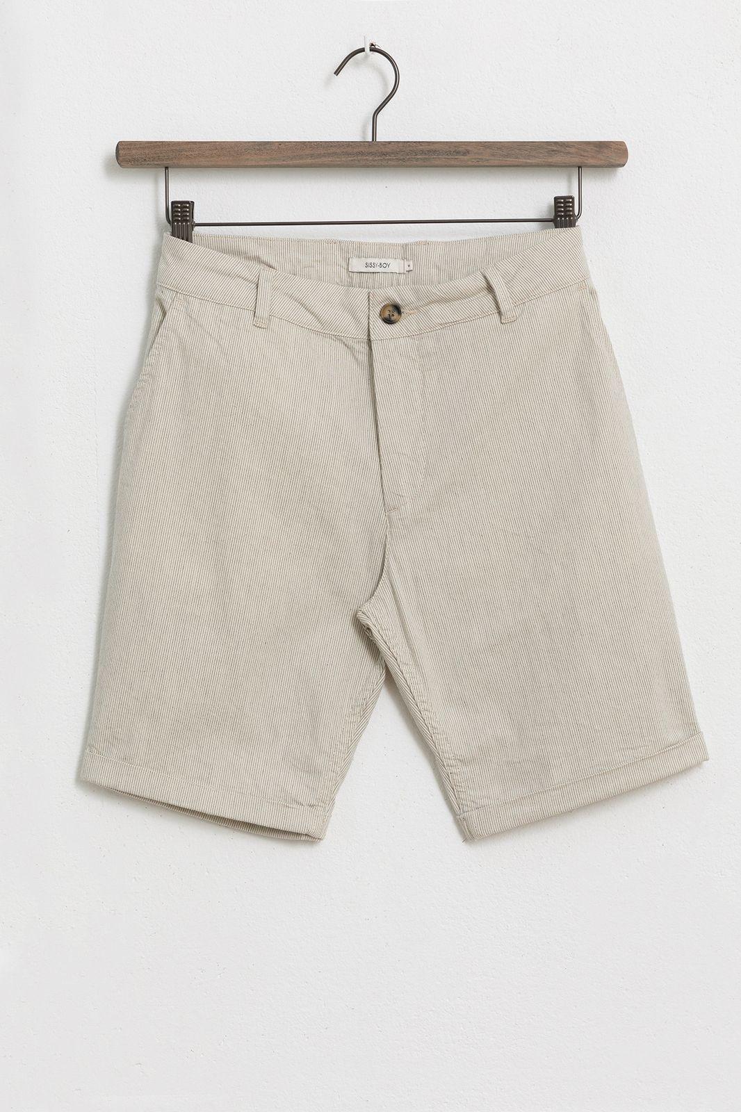 Beige gestreepte chino shorts