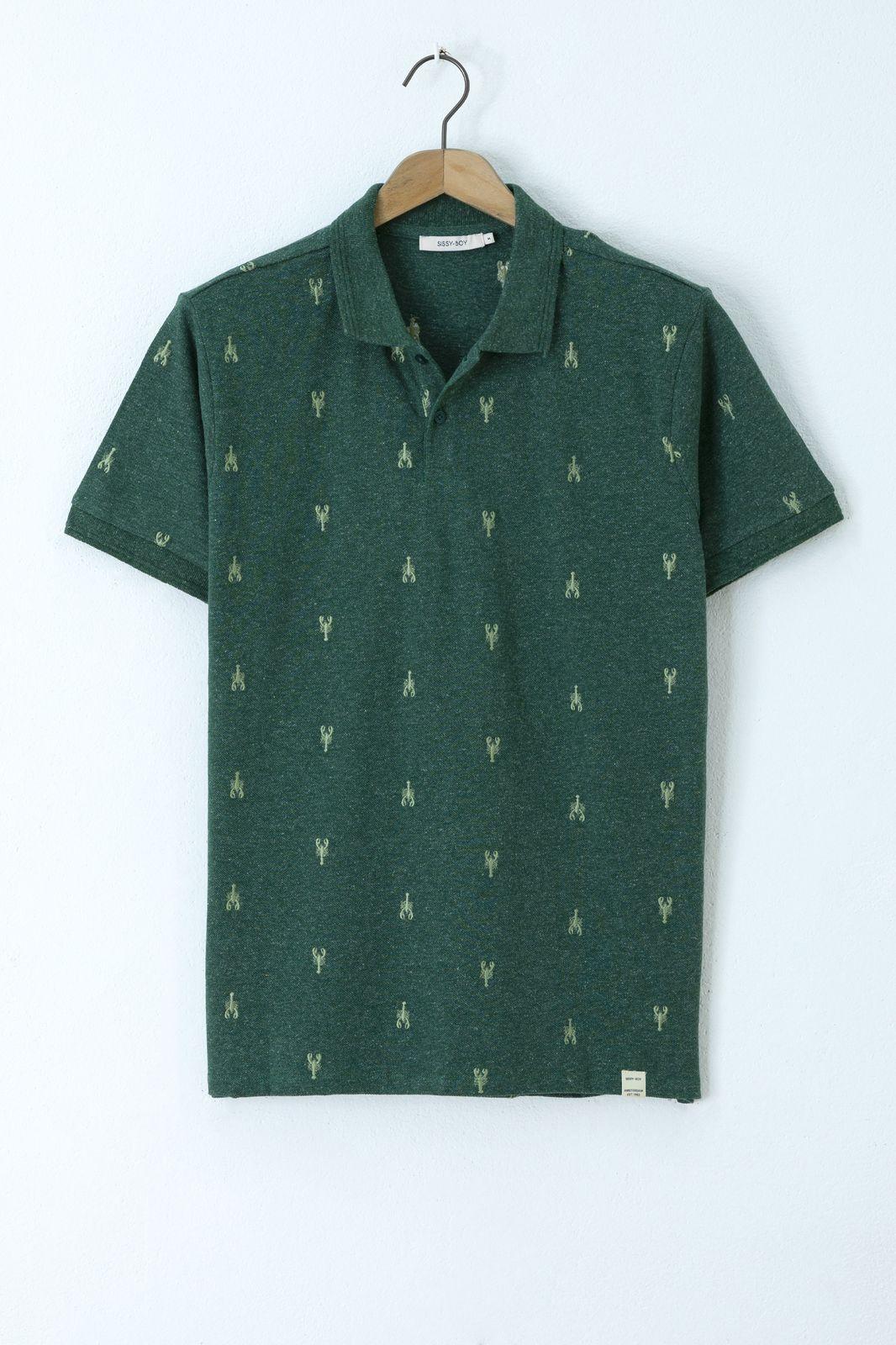 Donkergroene jersey polo met all over kreeften embroidery - Heren   Sissy-Boy