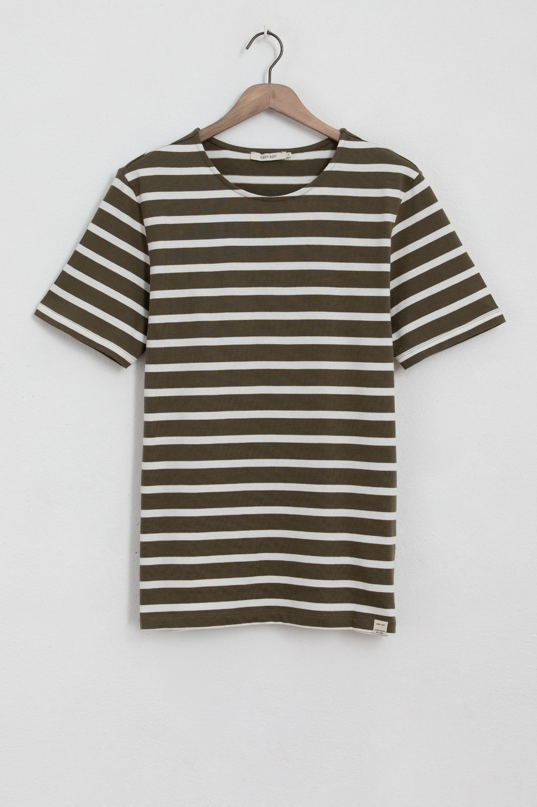 Donkergroen t-shirt gestreept
