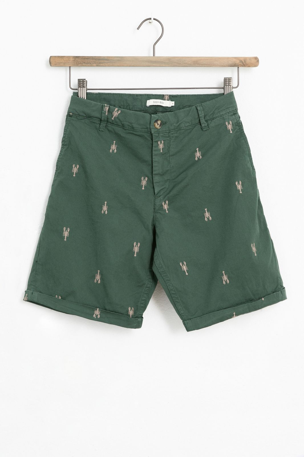 Groene chino shorts met all over kreeft embroidery