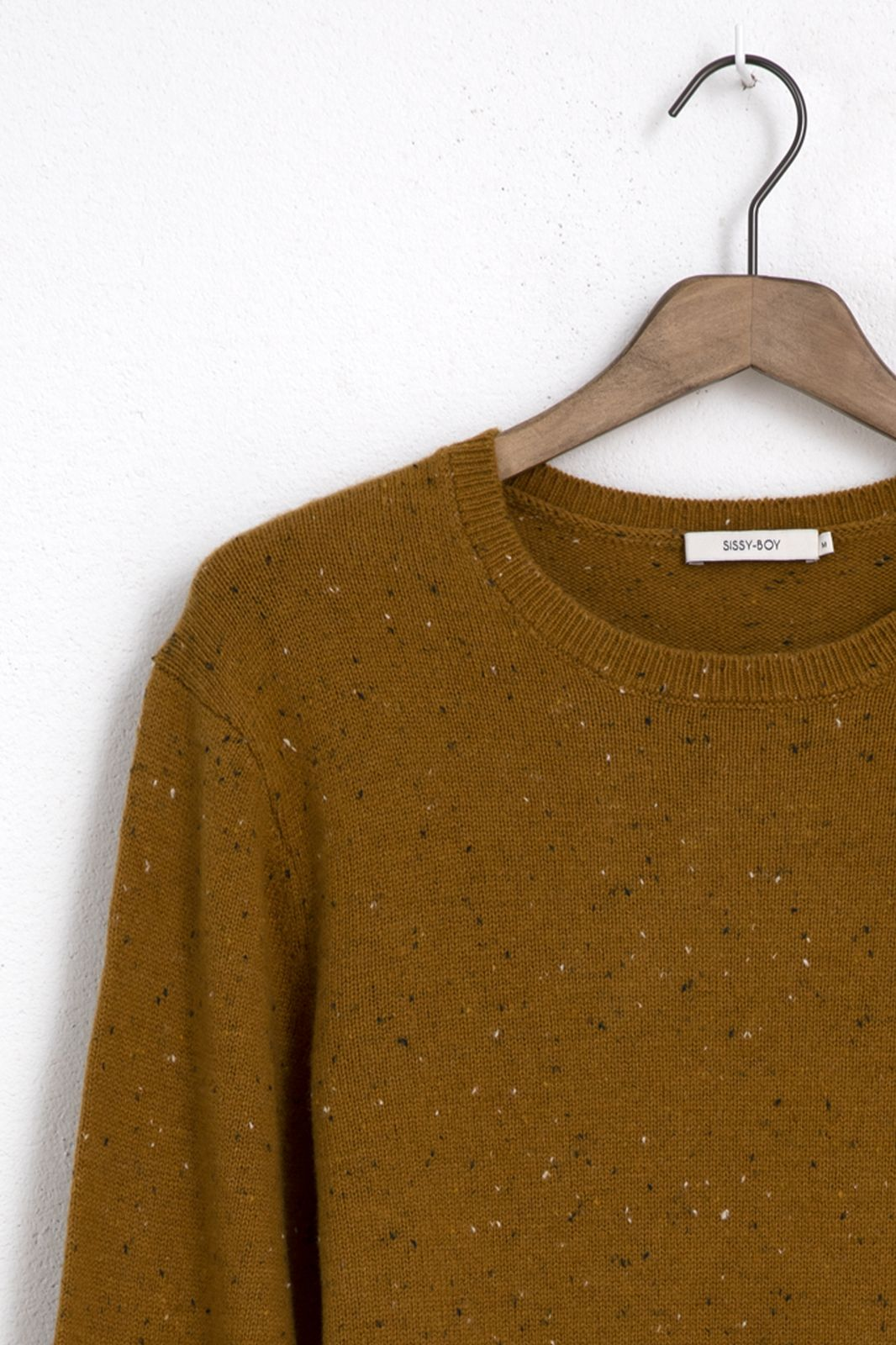 Mosterdgele trui met gebreide details - Heren | Sissy-Boy