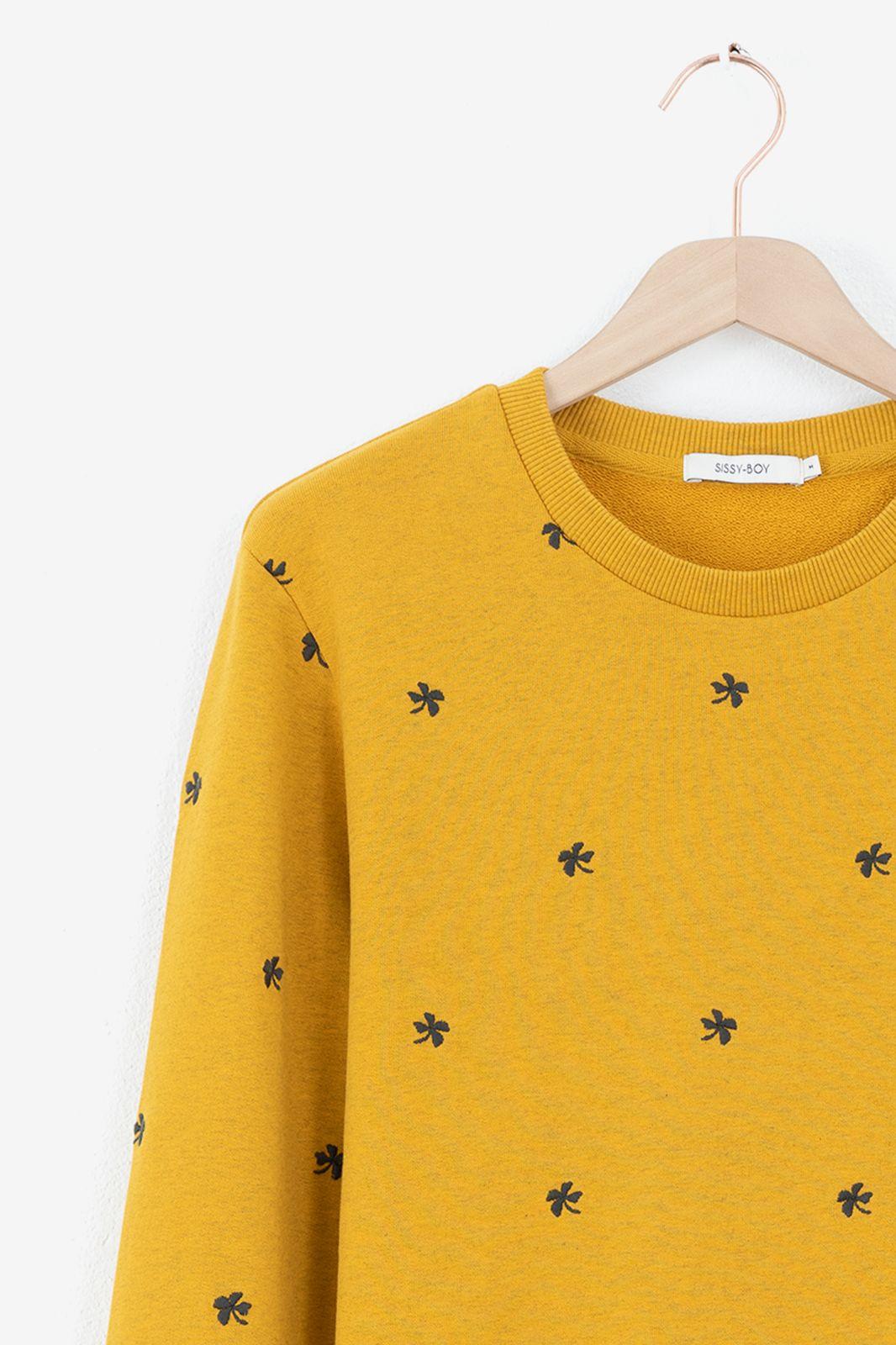 Gele sweater met all over borduursels - Heren | Sissy-Boy