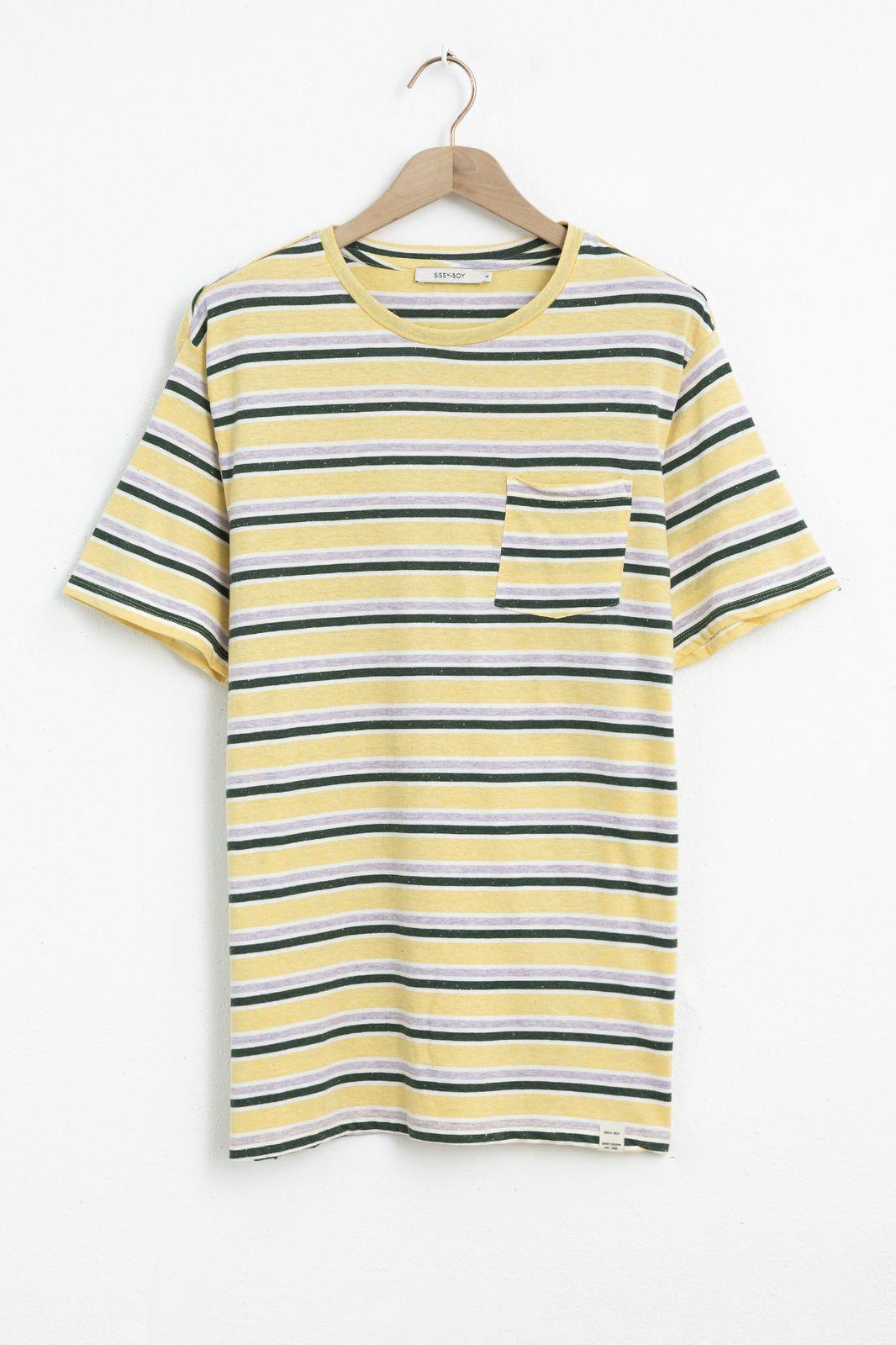 Geel gestreept katoenen T-shirt - Heren   Sissy-Boy