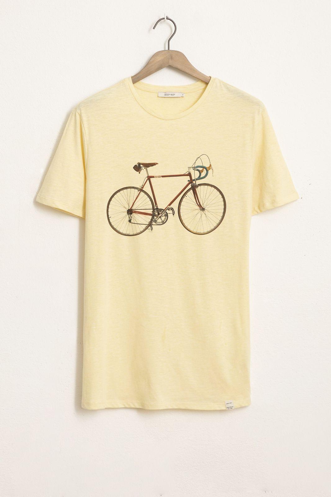 Geel T-shirt met bicycle print - Heren | Sissy-Boy
