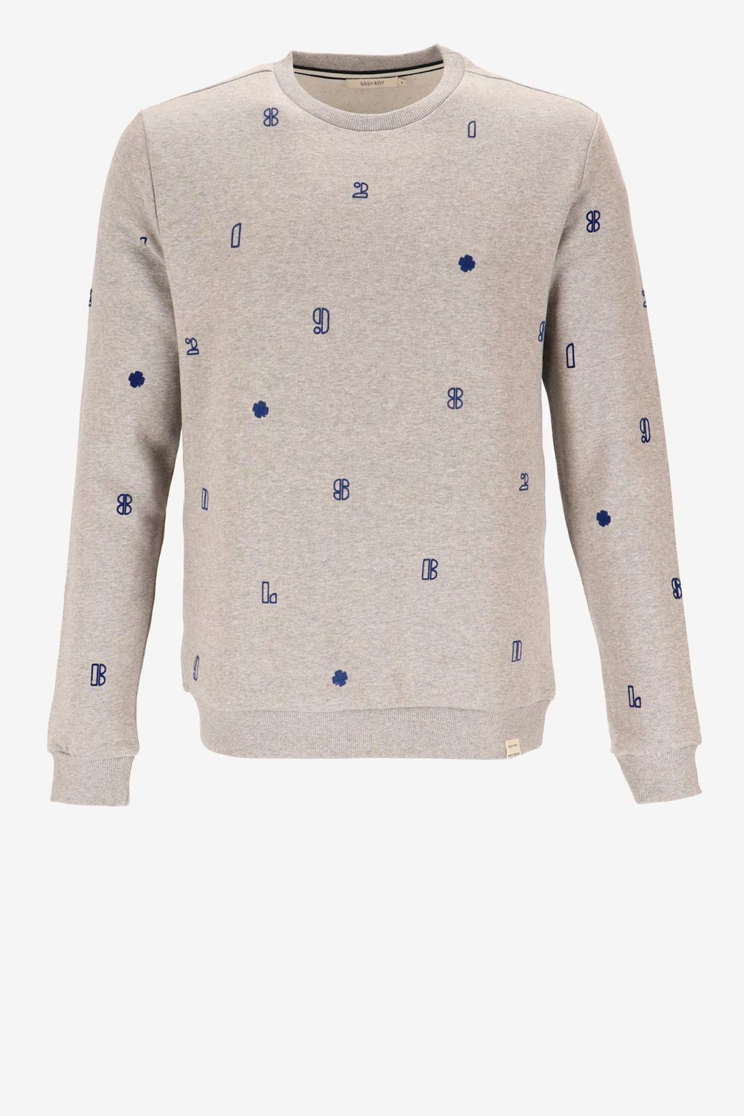 Grijze sweater met flock print letters