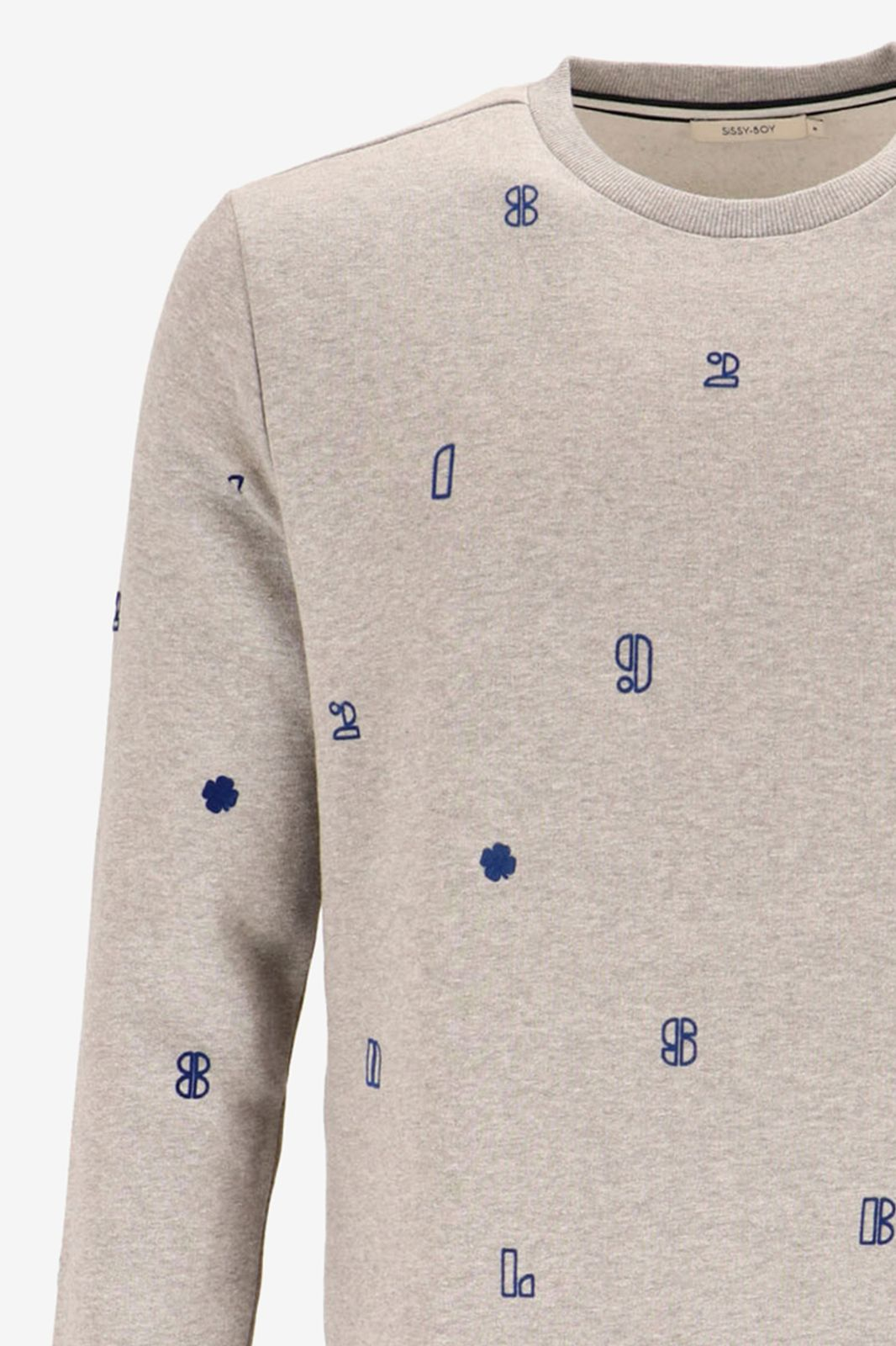 Grijze sweater met flock print letters - Heren | Sissy-Boy