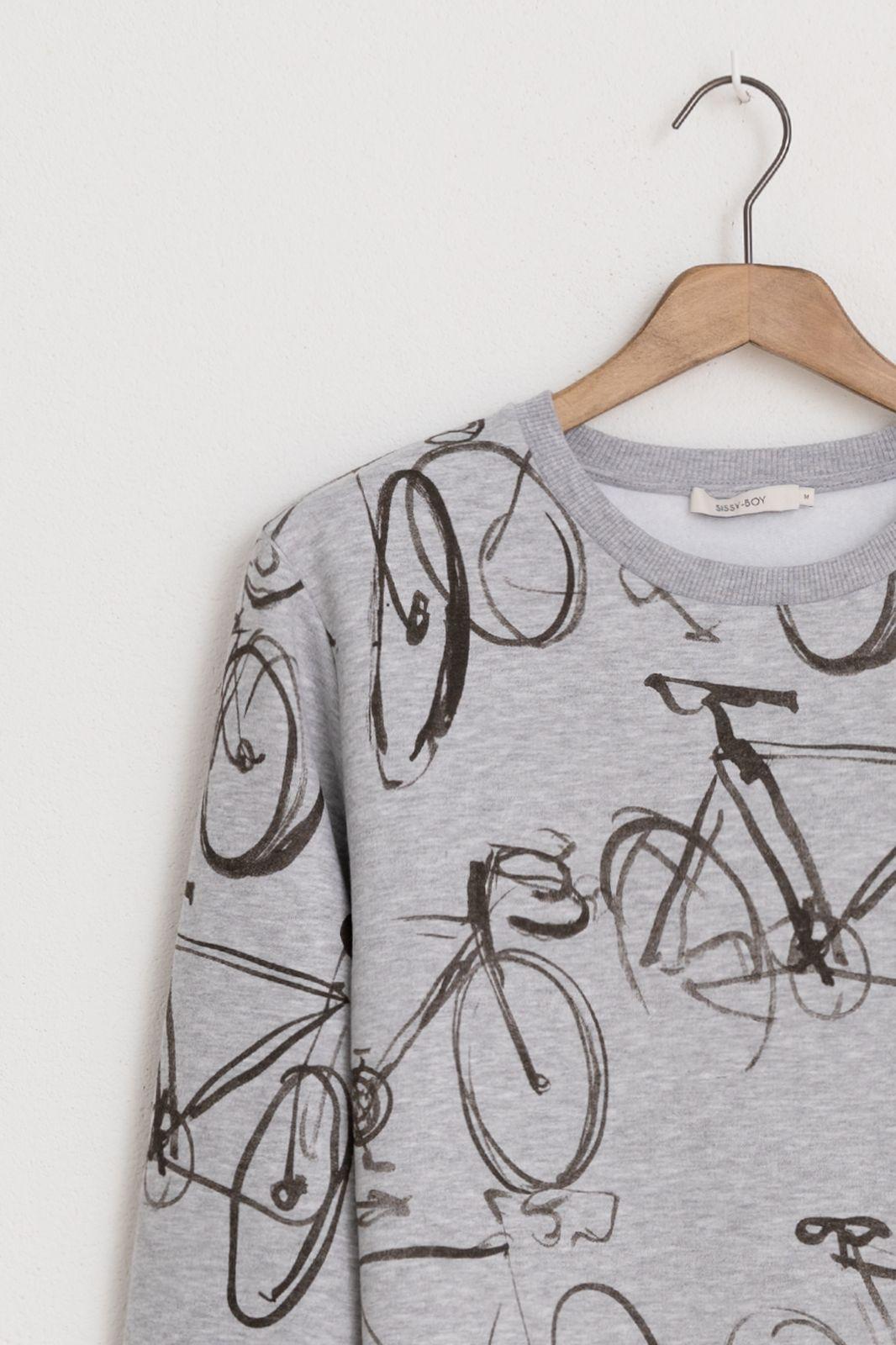 Grijze katoenen sweater print fiets - Heren | Sissy-Boy