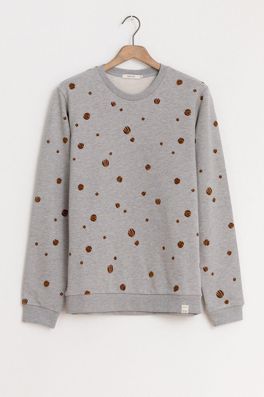Grijze sweater met print - Heren | Sissy-Boy