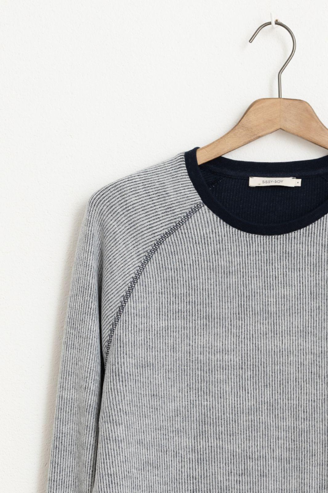 Grijs/blauw raglan t-shirt lange mouw - Heren | Sissy-Boy