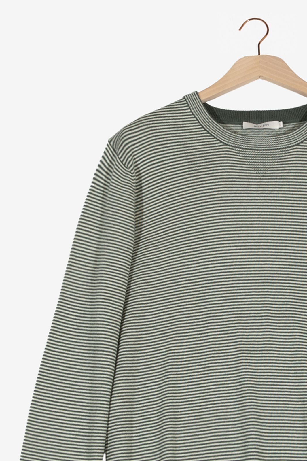 Groen gestreepte trui