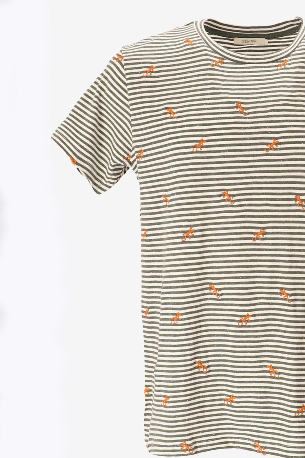 Gestreept T-shirt met gekko embroidery - Heren | Sissy-Boy