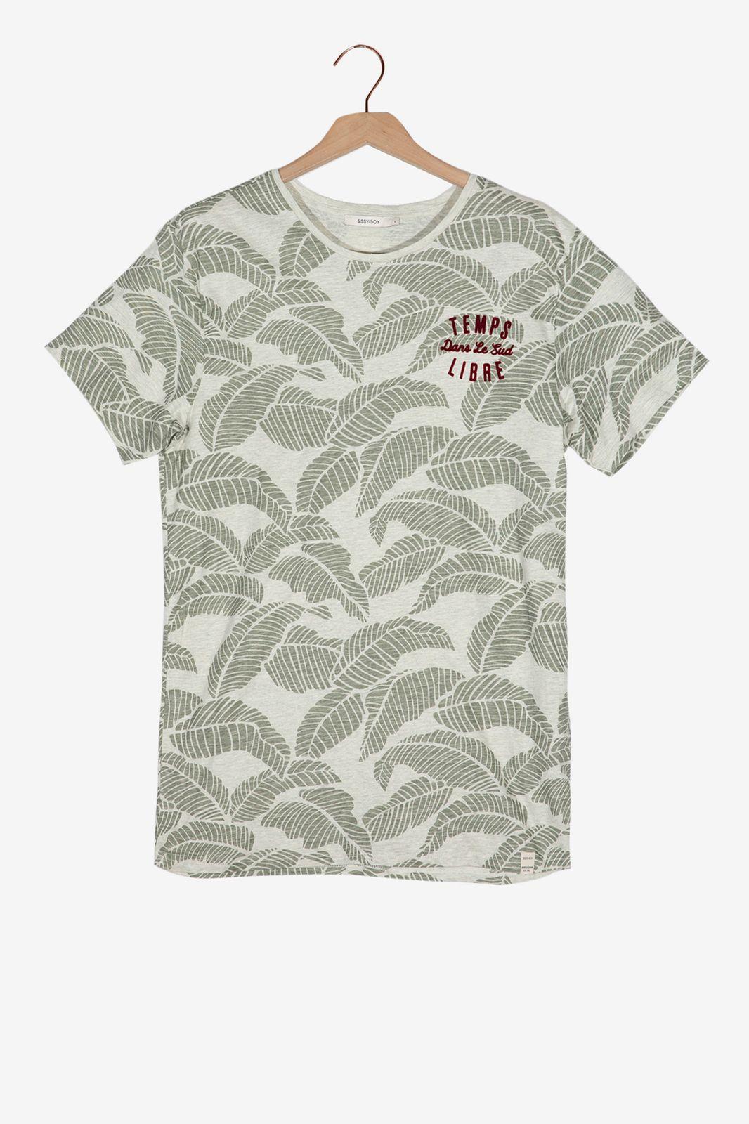 Groen T-shirt met bladmotief - Heren | Sissy-Boy