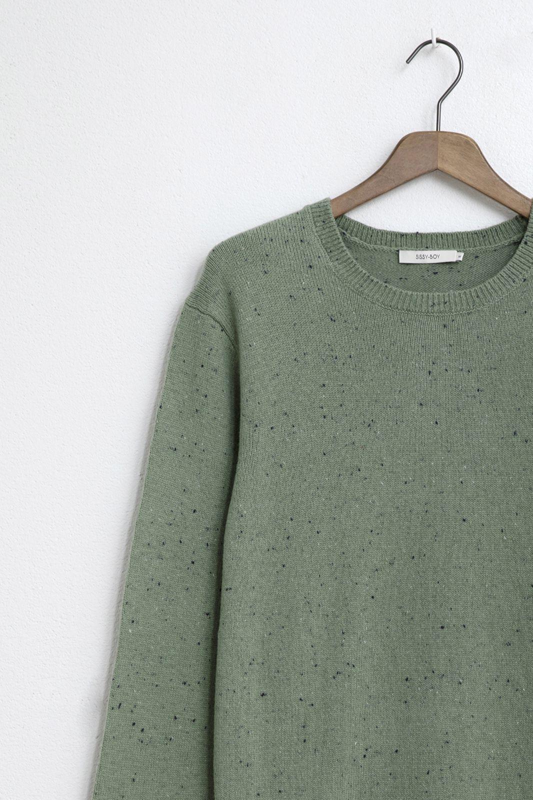 Groene katoen blend trui met neps - Heren | Sissy-Boy
