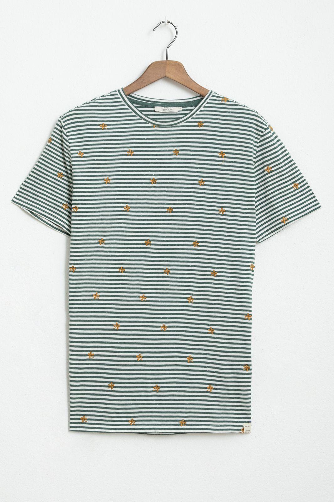 Groen gestreept T-shirt met all over borduursels - Heren | Sissy-Boy