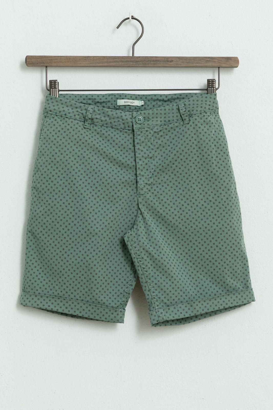 Groene chino shorts met all over print - Heren | Sissy-Boy