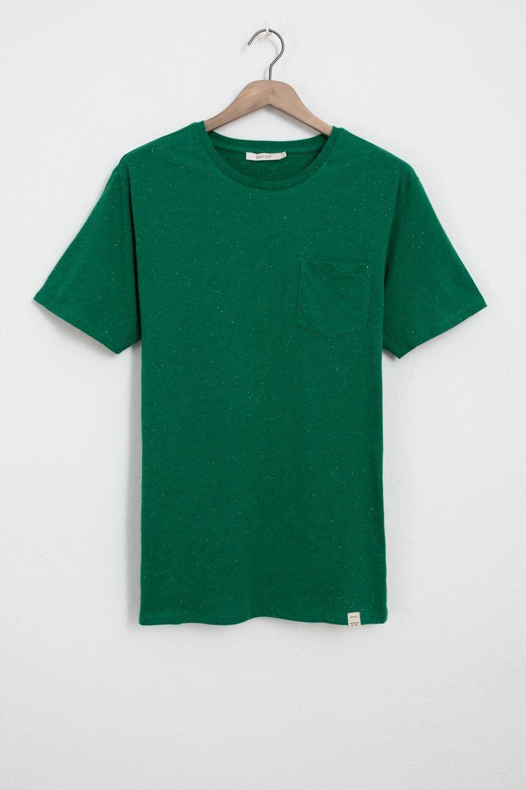 Groen neps t-shirt met borstzakje