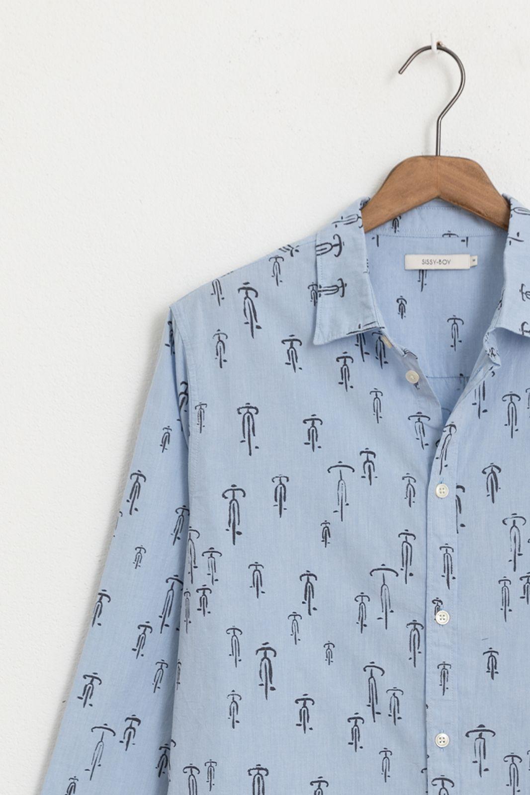 Lichtblauw overhemd met all over print