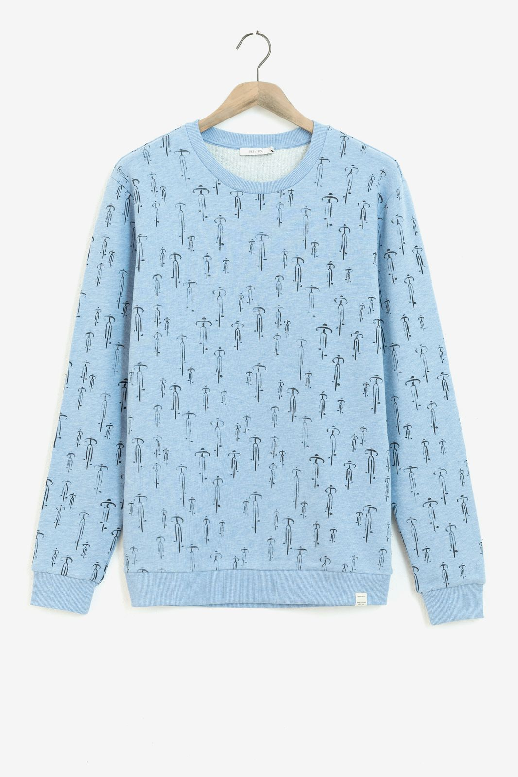 Lichtblauwe sweater met all over print - Heren | Sissy-Boy