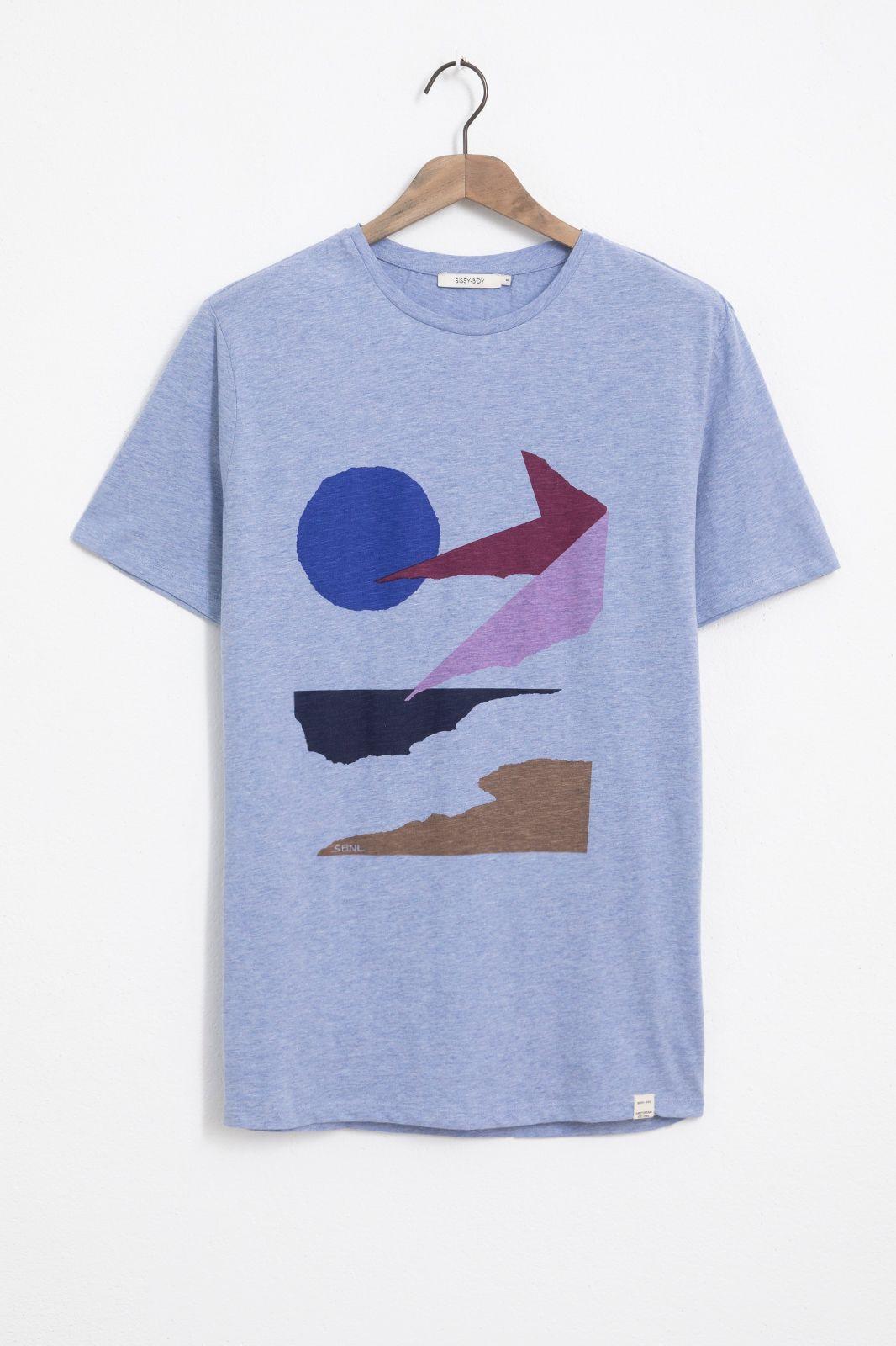 Blauw basic T-shirt met sunset print
