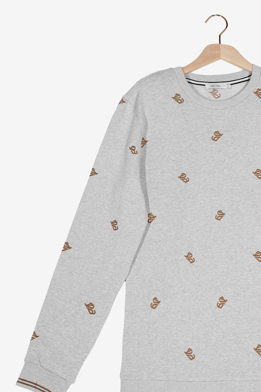 Grijze sweater met geborduurde leeuwen