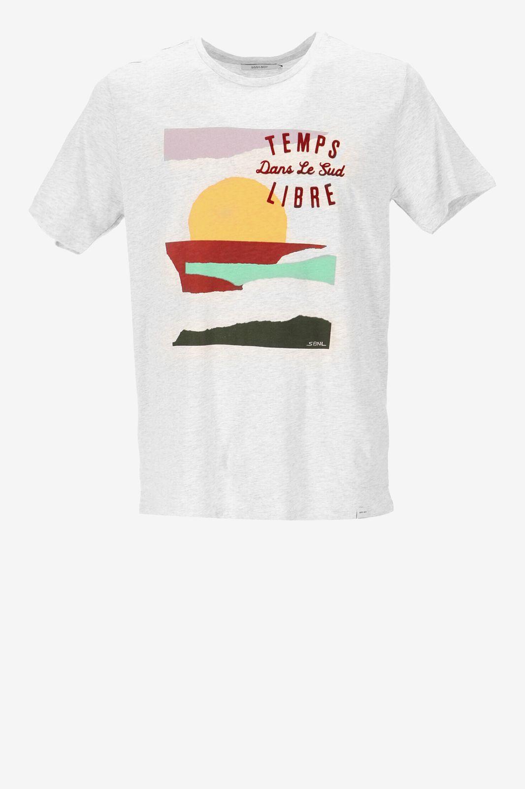 Lichtgrijs T-shirt met landscape print - Heren | Sissy-Boy