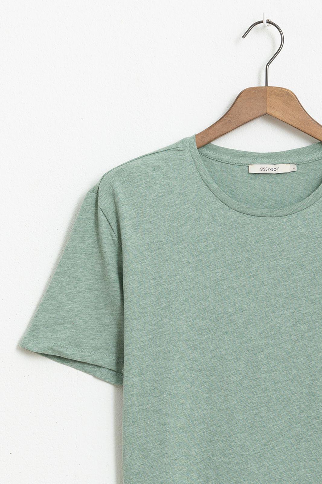 Groen basic T-shirt melange - Heren | Sissy-Boy
