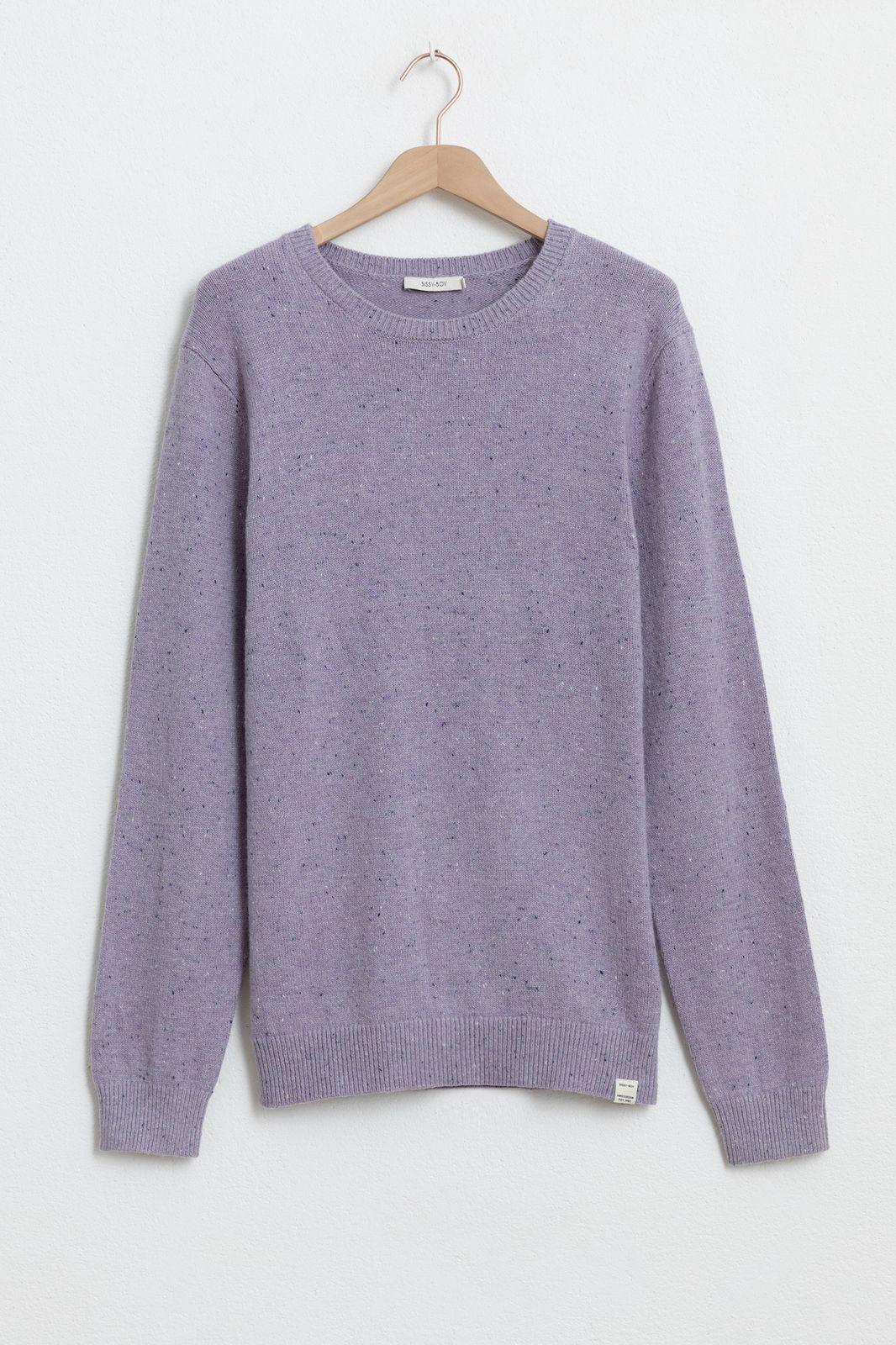Paarse katoen blend trui met neps