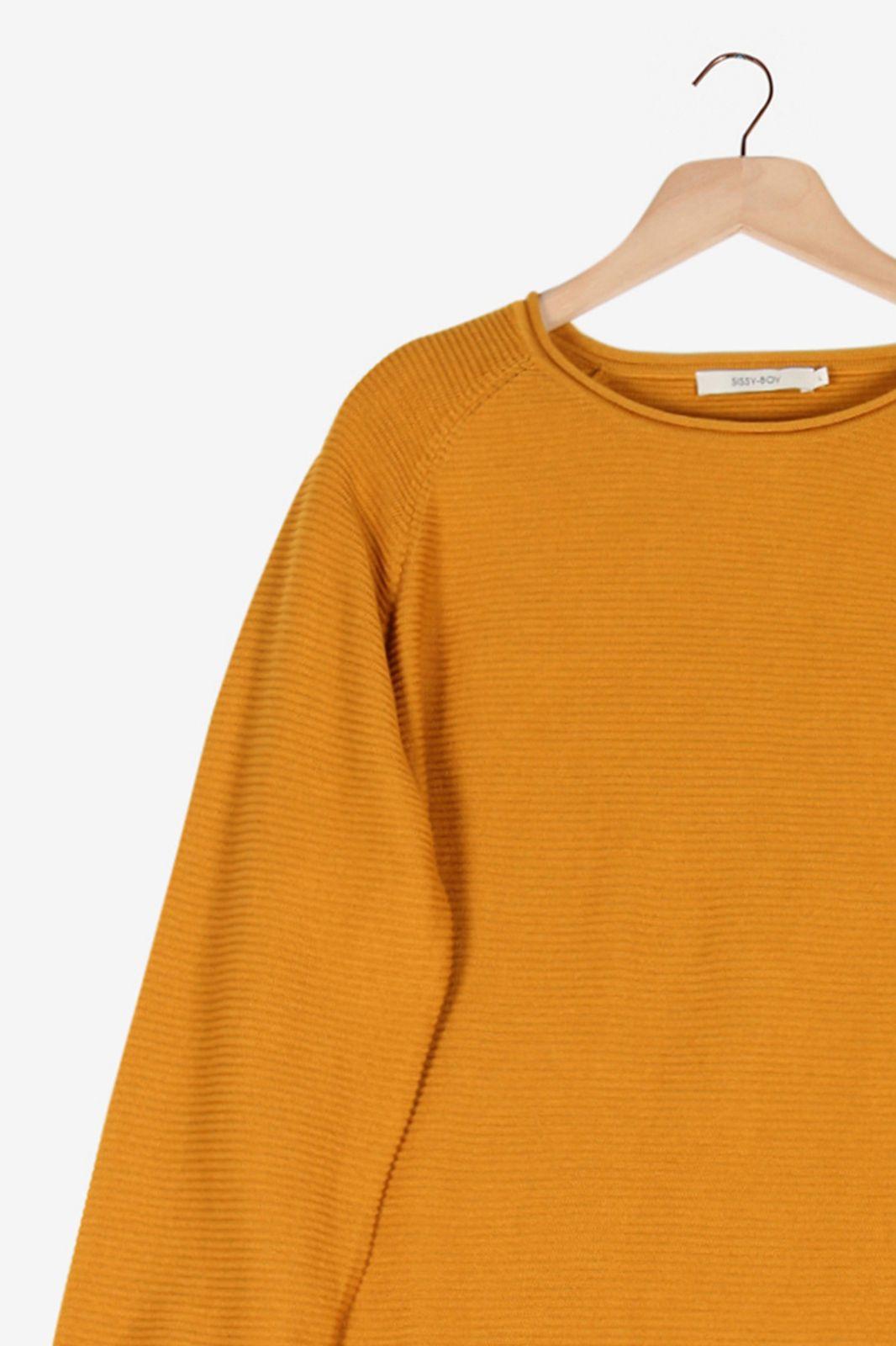 Okergele rib knit trui