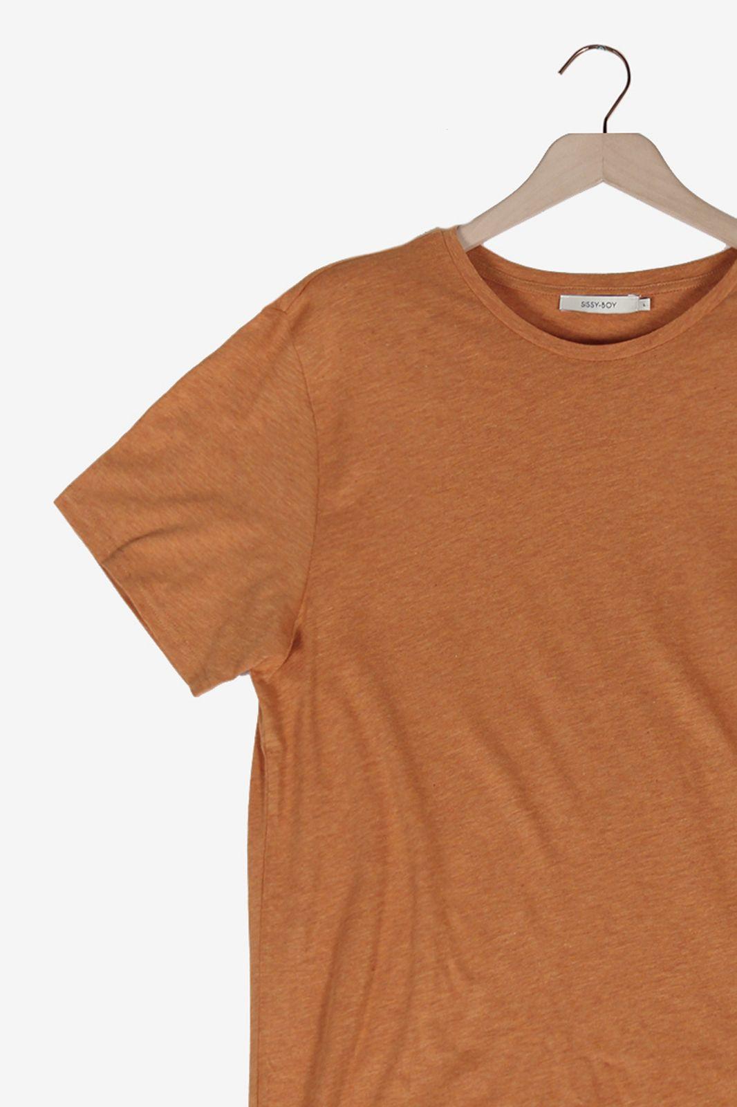 Oranje organic katoen melange T-shirt - Heren | Sissy-Boy