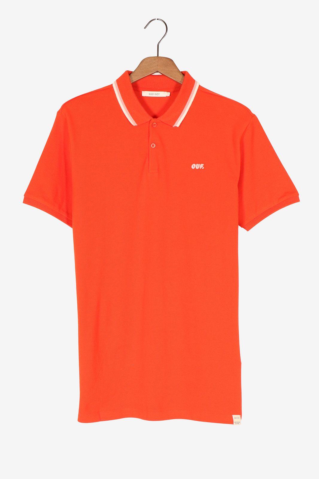 Oranje polo met borduursel