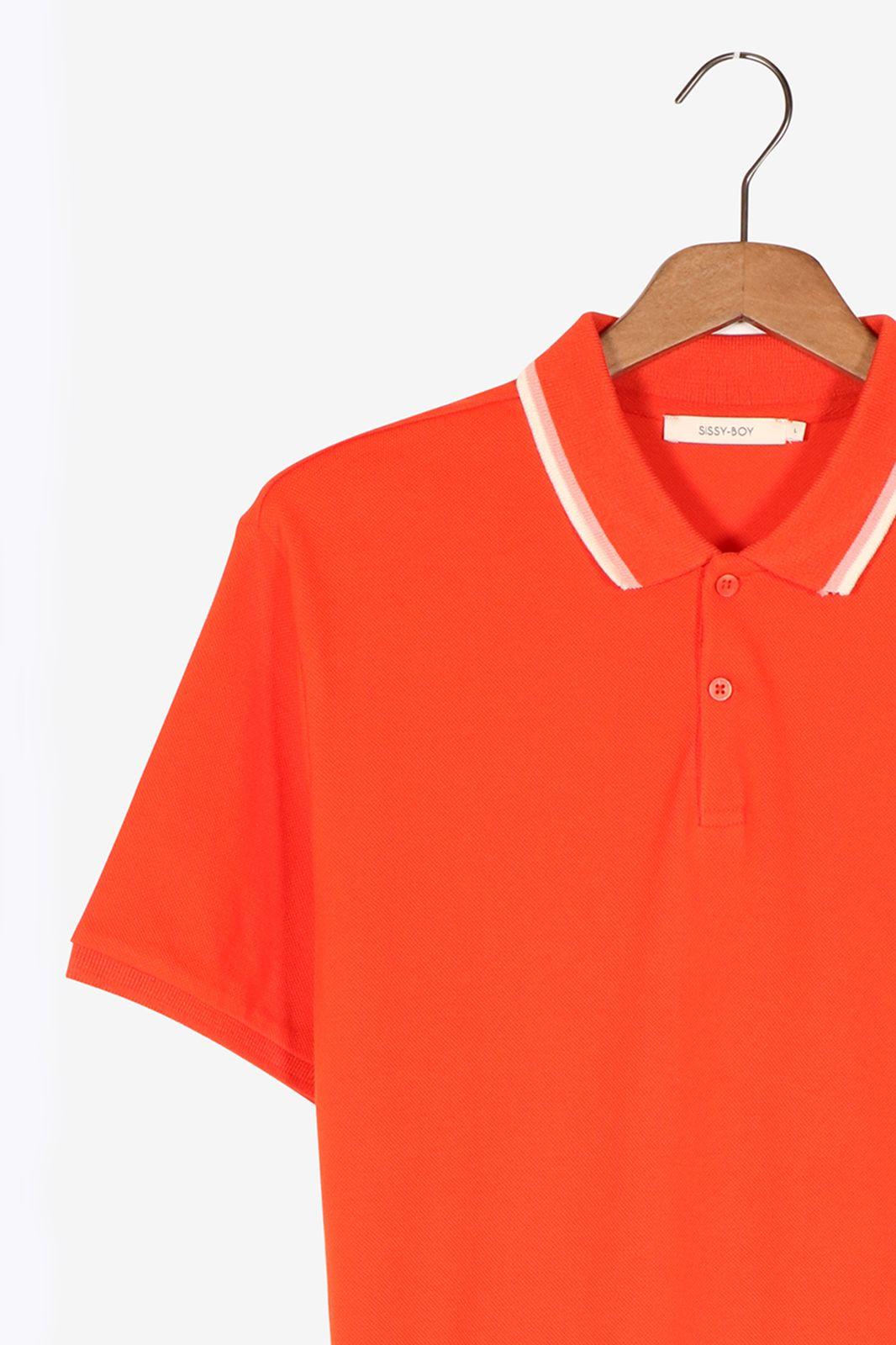 Oranje polo met borduursel - Heren | Sissy-Boy