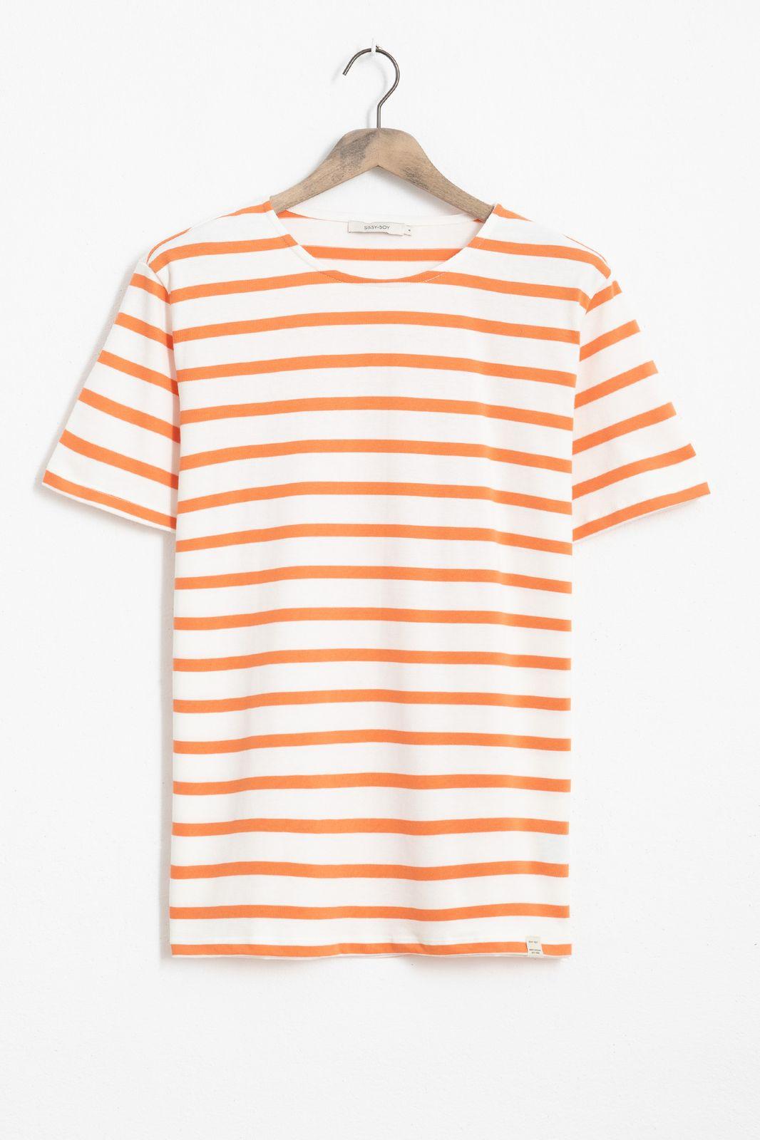 Oranje T-shirt gestreept - Heren | Sissy-Boy