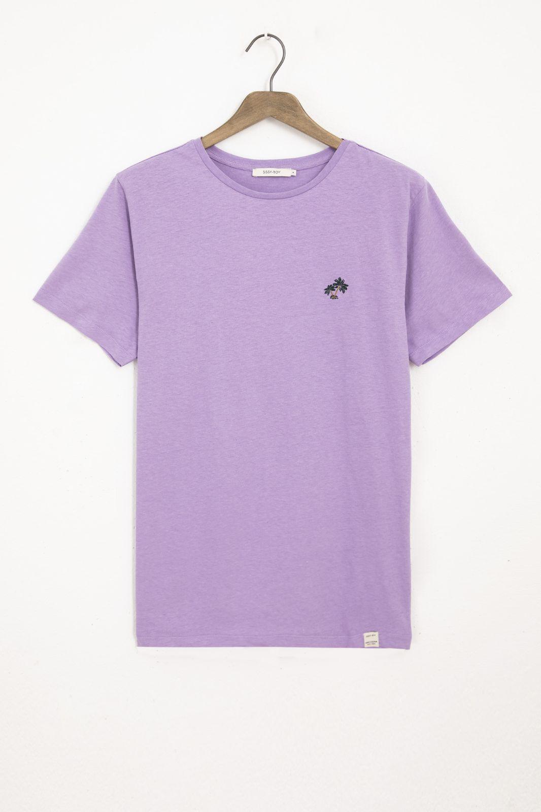 Paars linnen basic T-shirt
