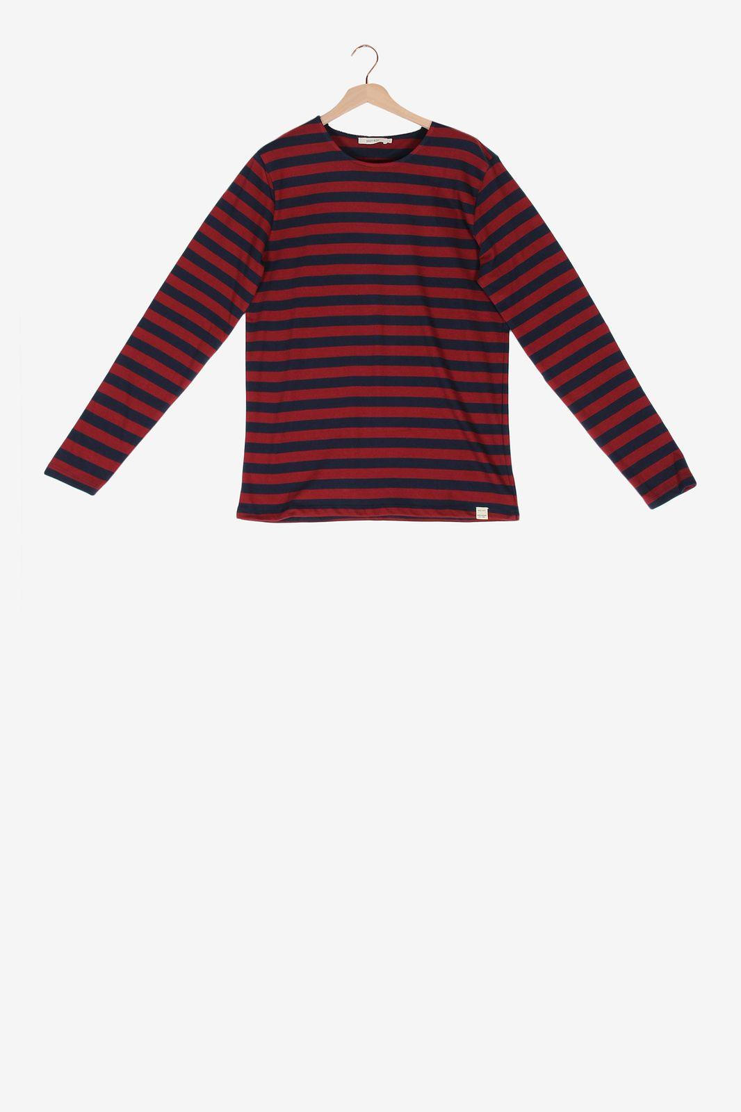 Rood gestreept t-shirt met lange mouwen - Heren | Sissy-Boy