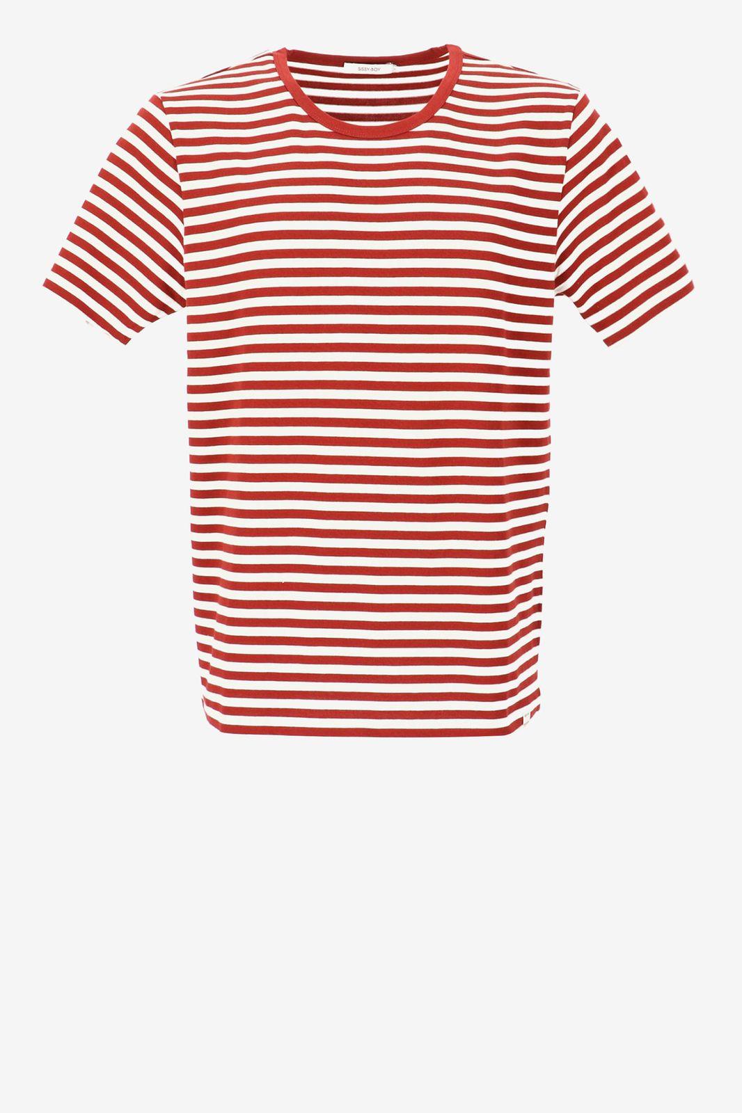 T-shirt met rode strepen - Heren | Sissy-Boy