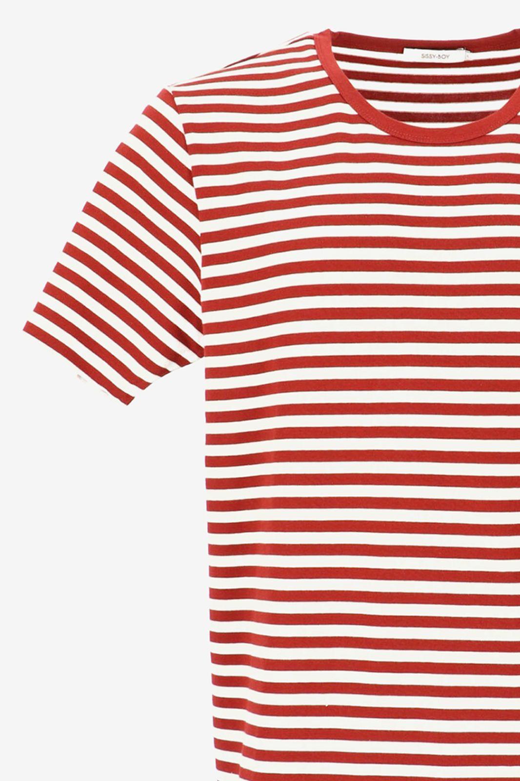 T-shirt met rode strepen