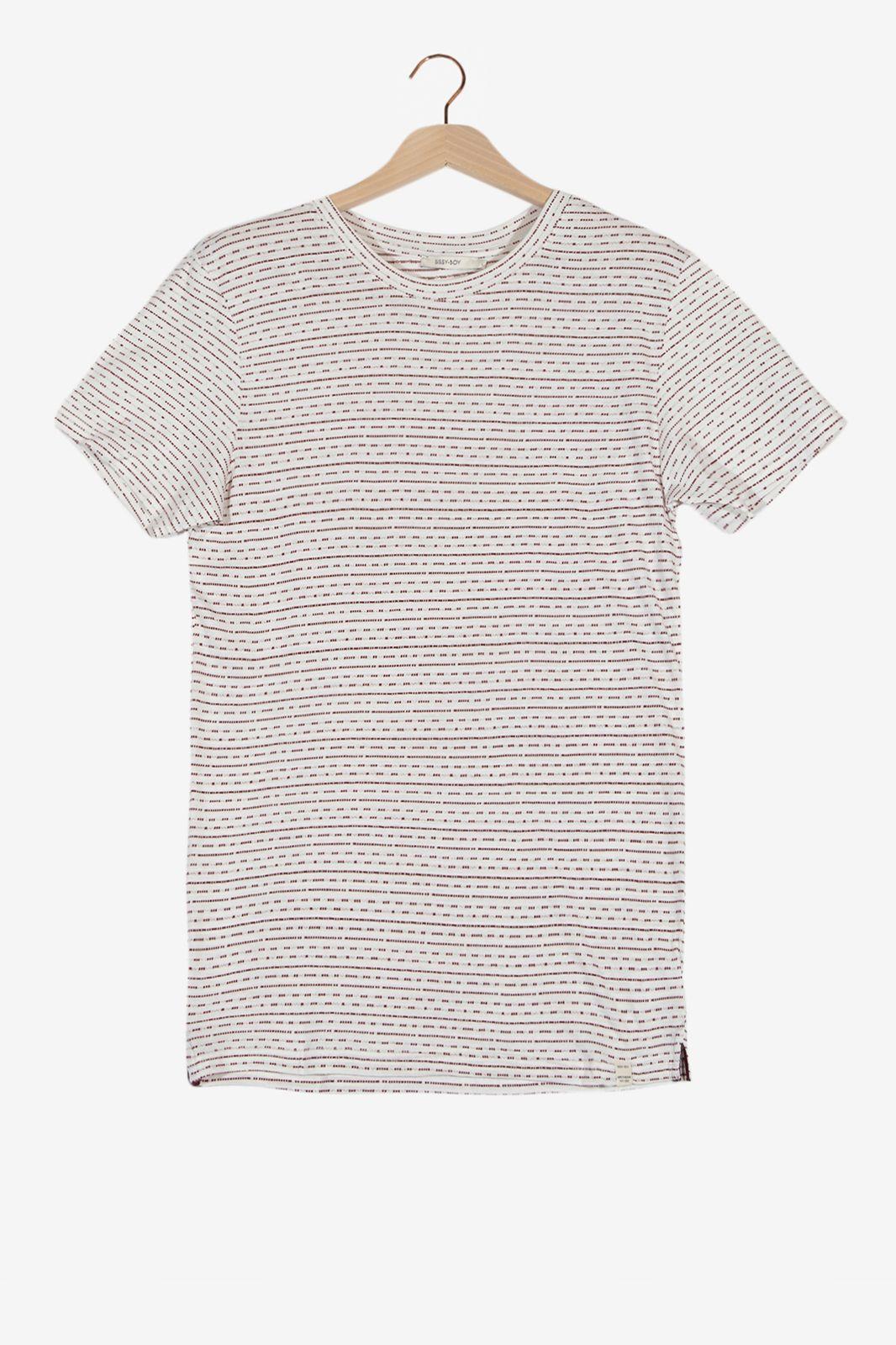Wit T-shirt met jacquard motief