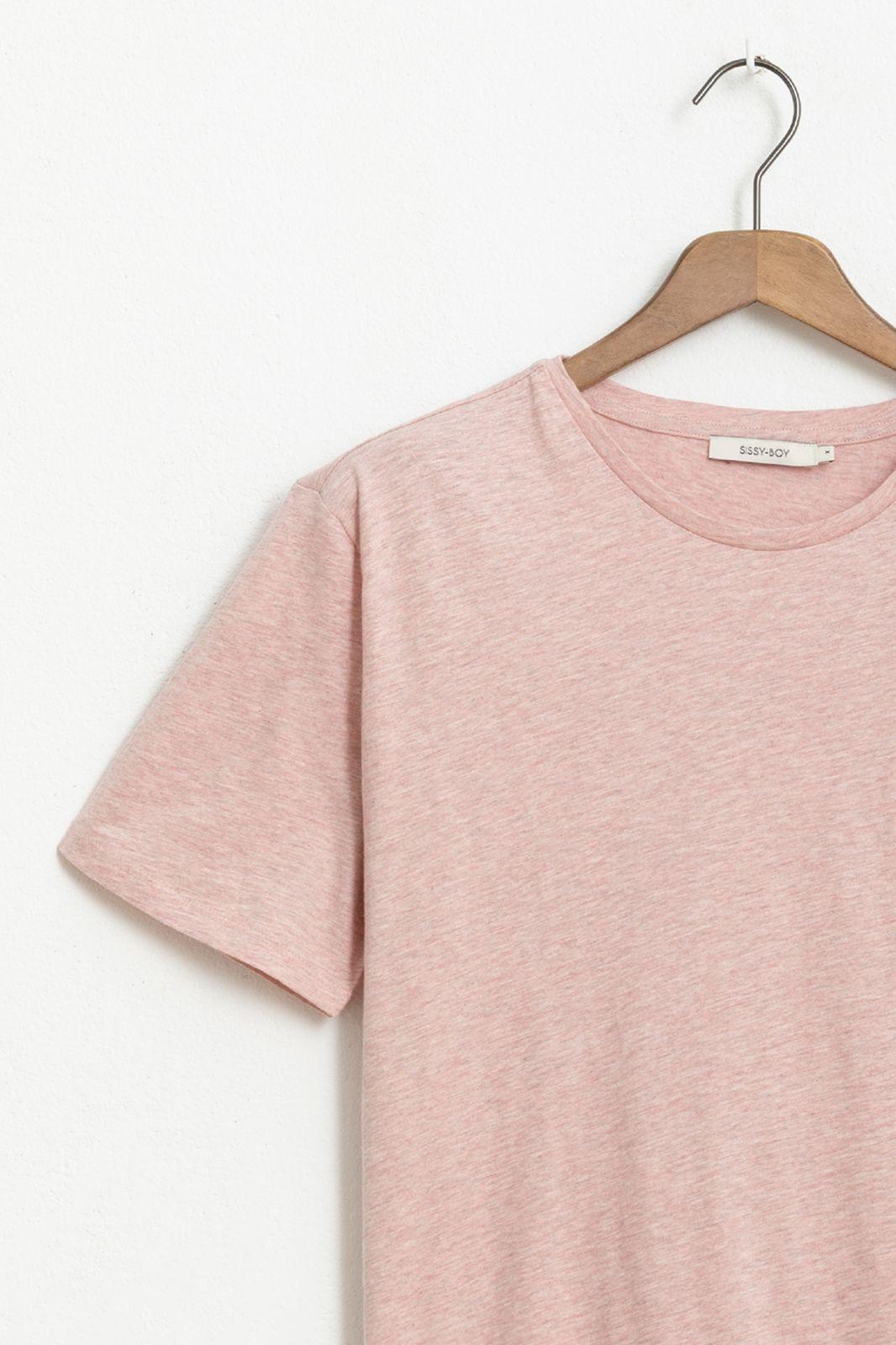 Roze basic T-shirt melange - Heren | Sissy-Boy