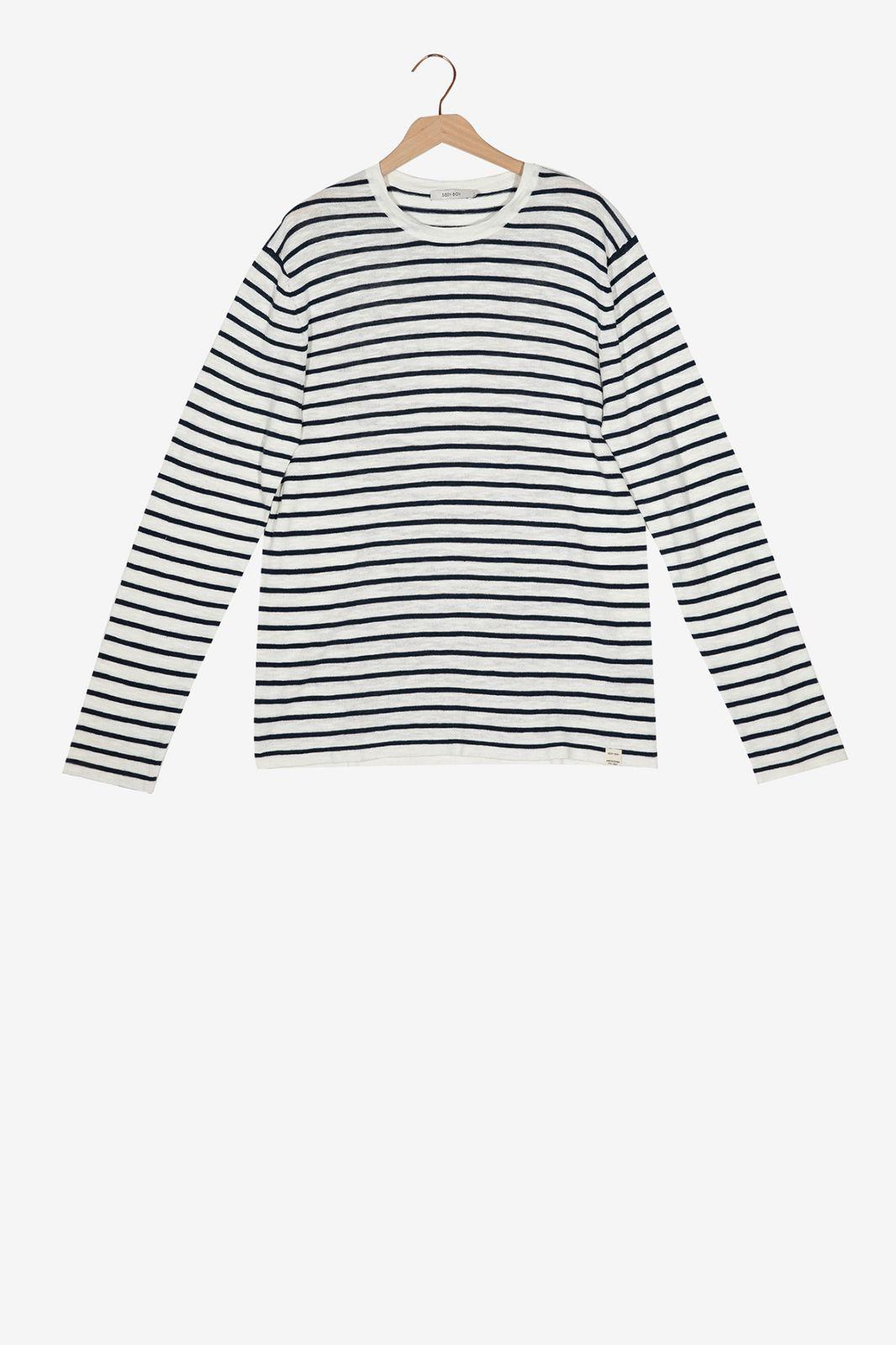 Zwart wit gestreepte knit trui - Heren   Sissy-Boy